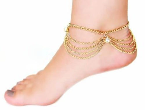 7069-19cdf917bf20f2f031a237aa77397aac Gold Plated Multi-chain Anklet Jewelry With Rhinestone Crystals
