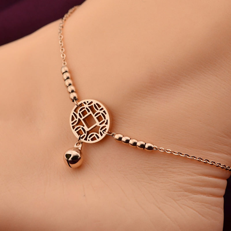7073-2c99b63d2380461d800f5ab47bb2c966 Rose Gold Chain Anklet Jewelry With Round Pendant And Bells