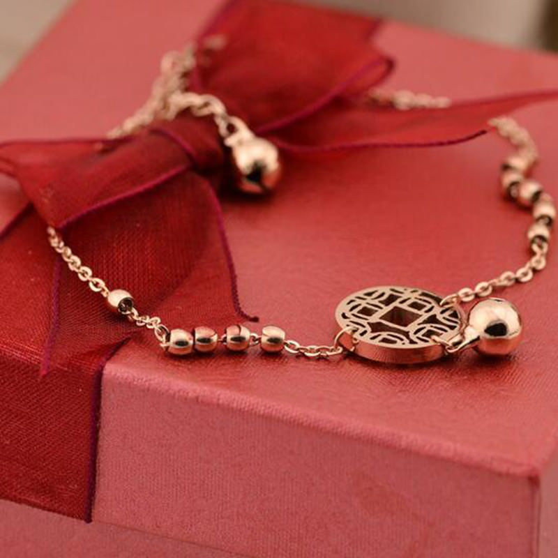7073-c2b7bc6cb26fdee01721ffb6943edb77 Rose Gold Chain Anklet Jewelry With Round Pendant And Bells