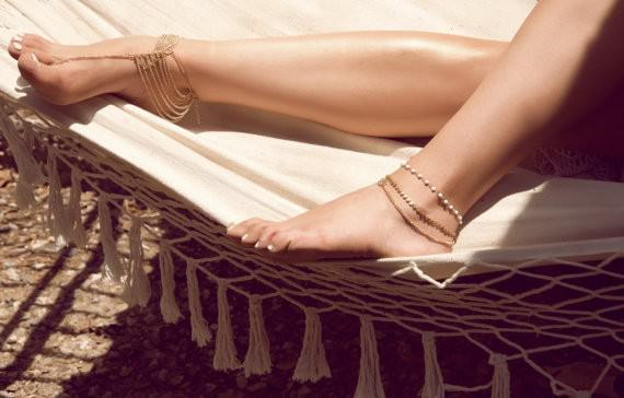 7075-f86785fb8b8f39879d603634af527f77 Multi-layer Chain Anklet With Attached Toe Ring