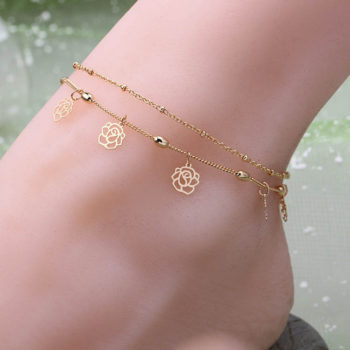 Double Row Hollow Rose Flower Chain Anklet Jewelry