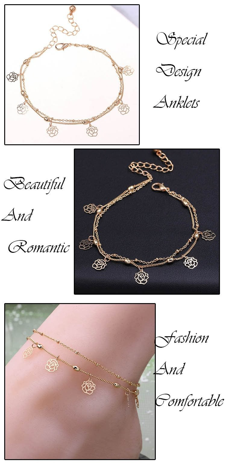 7076-c74054bb0f4cc486ac21f759e178b236 Double Row Hollow Rose Flower Chain Anklet Jewelry