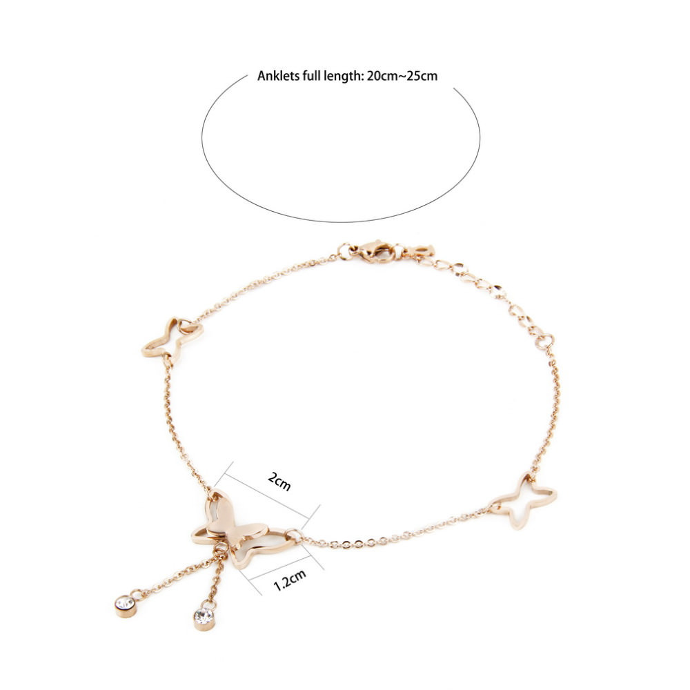 7077-0508ac2587a872ddf146049899ee8ea2 Girly Butterfly Anklet Chain Jewelry With Rhinestone Crystals