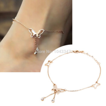 Girly Butterfly Anklet Chain Jewelry With Rhinestone Crystals