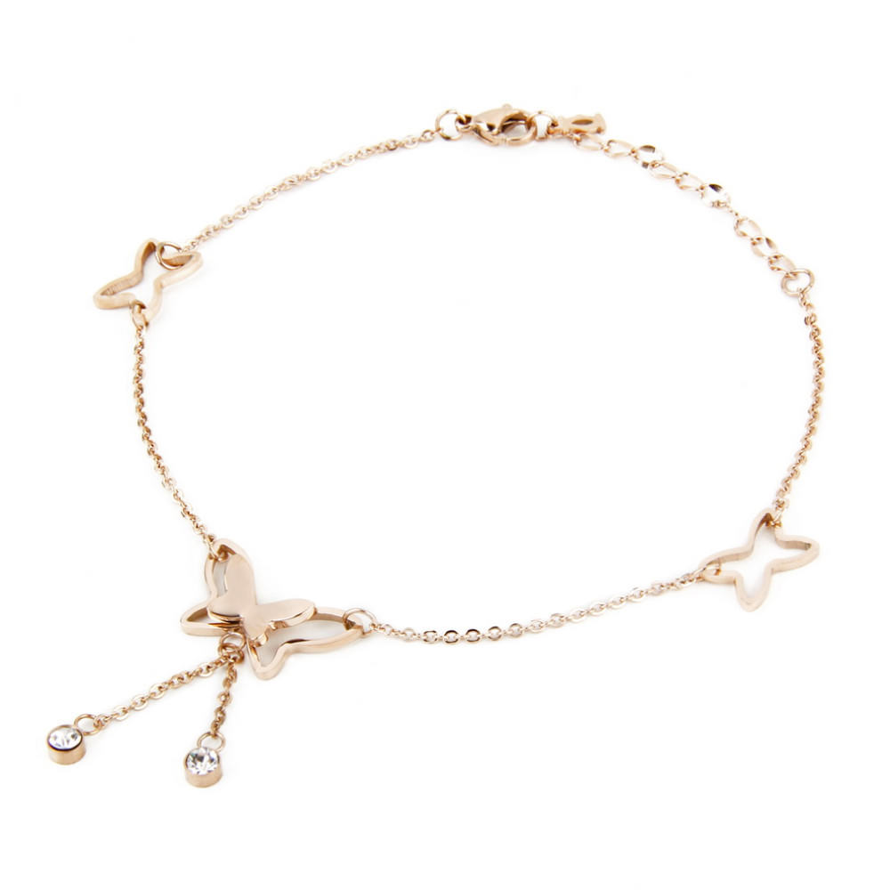 7077-b416a5f30906285b0145fc351ca76b11 Girly Butterfly Anklet Chain Jewelry With Rhinestone Crystals