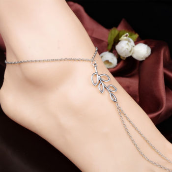 Simple Silver Chain Barefoot Sandal Jewelry With Leaf Branch Pendant