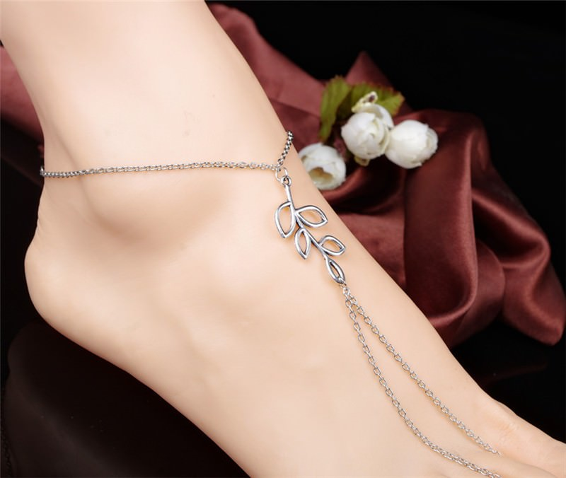 7078-494e3f474cccf2d240d4ae5068adc925 Simple Silver Chain Barefoot Sandal Jewelry With Leaf Branch Pendant