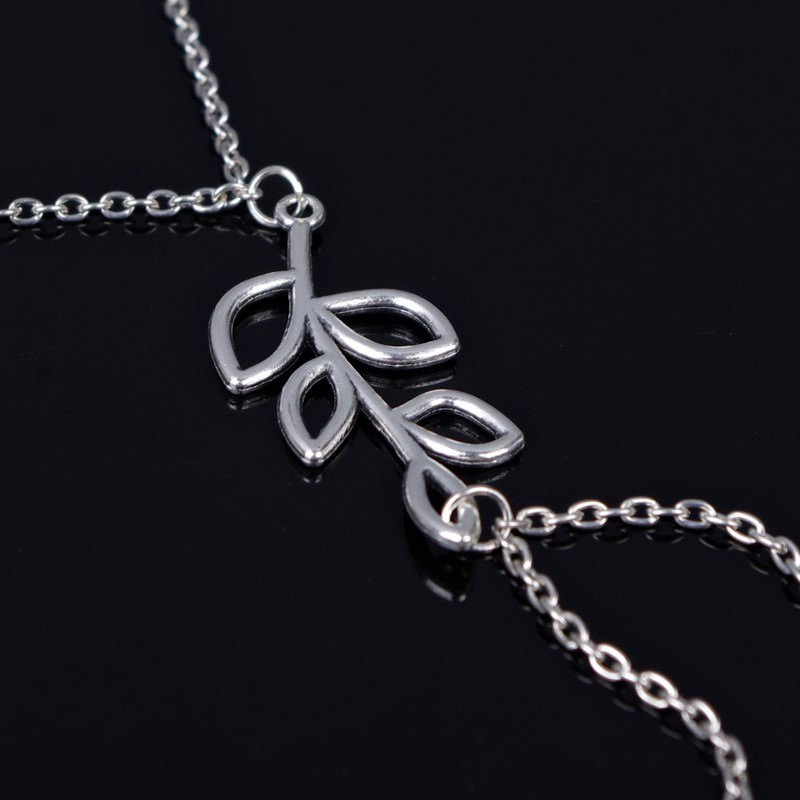 7078-c7a38c3ebd35534b0a1b2bea83e502cf Simple Silver Chain Barefoot Sandal Jewelry With Leaf Branch Pendant