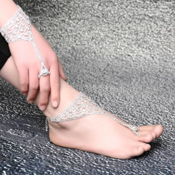 Luxurious Bridal Crystal Encrusted Barefoot Sandal Anklet Jewelry