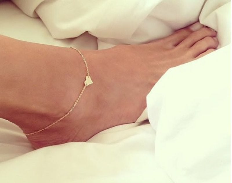 7081-d3e17f8fde4ce843f29e6e11cab2693e Trendy Gold/ Silver Plated Chain Anklet Jewelry With Heart Accent