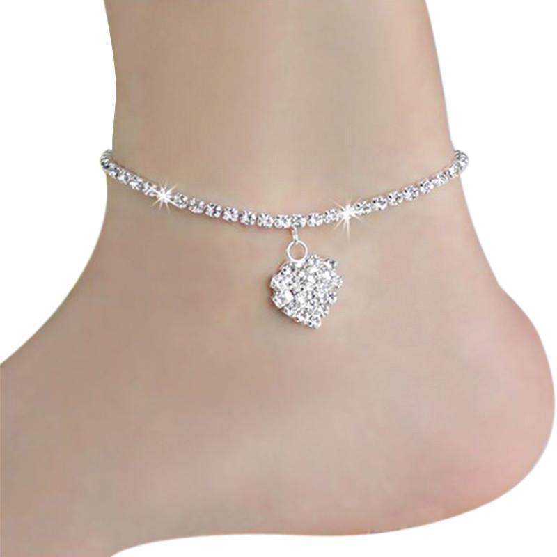 7082-5f5f82c6e149eb89a365a429a8fc32dd Rhinestone Filled Chain Anklet Jewelry With Rhinestone Heart Pendant
