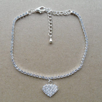 Rhinestone Filled Chain Anklet Jewelry With Rhinestone Heart Pendant