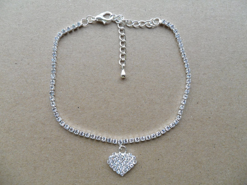 7082-ce90e88f431d92432a5b3827a1cc02ee Rhinestone Filled Chain Anklet Jewelry With Rhinestone Heart Pendant