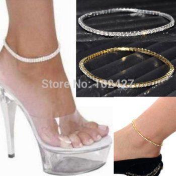 Stretchy Elegant Rhinestone Crystal Chain Tennis Anklet Jewelry