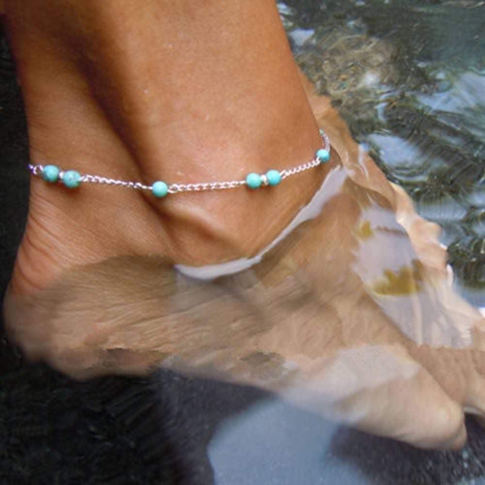 7087-01410518096f483c03264dbb31bf4051 Women's Silver Chain Anklet Jewelry With Turquoise Beads