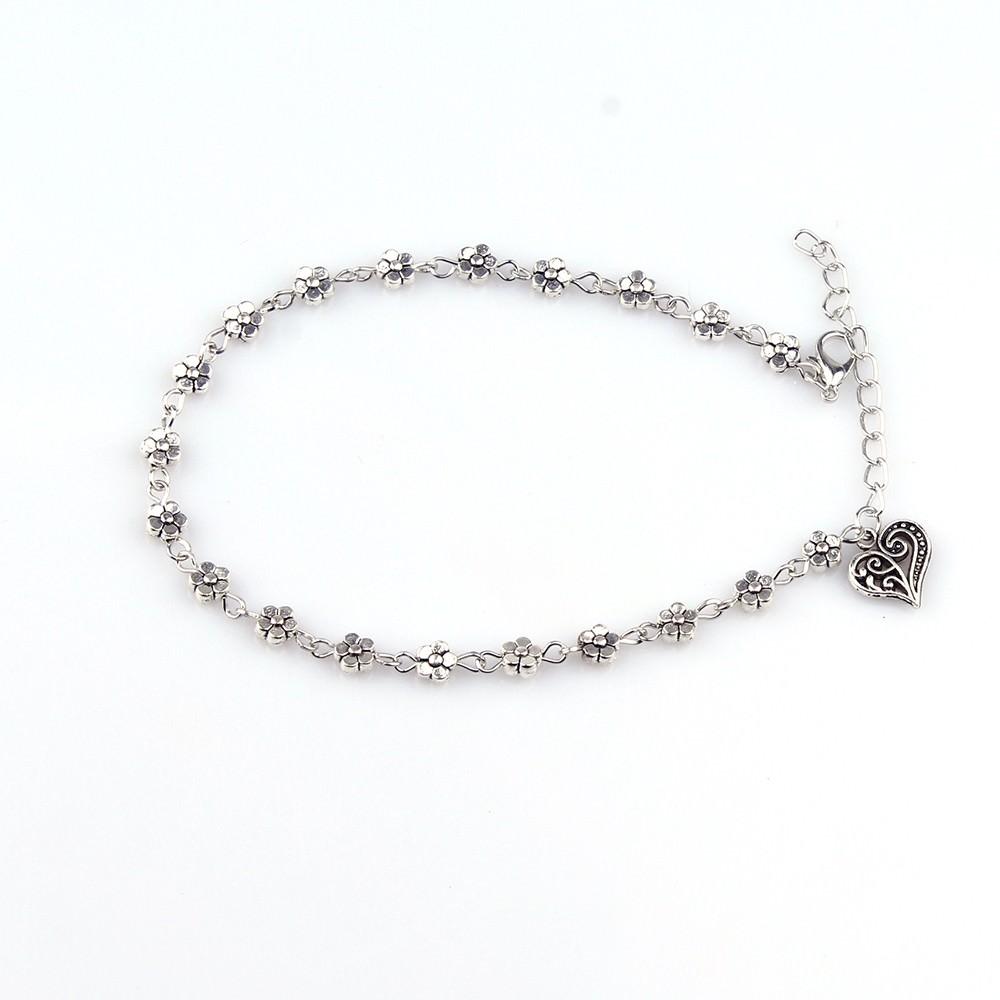 7088-321f4b242301b24934d3f545b330c91e Silver Bead Chain Ankle Bracelet Barefoot
