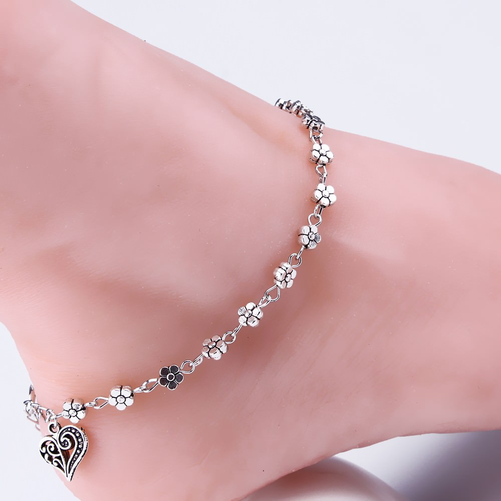 7088-5a9c96e91b6be02c60603ce6f7205431 Silver Bead Chain Ankle Bracelet Barefoot