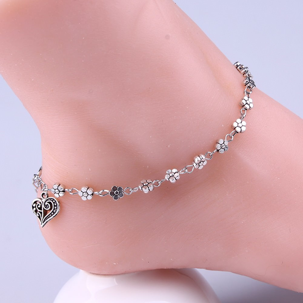 7088-c369e8955caf69d5151c2518b4b14a30 Silver Bead Chain Ankle Bracelet Barefoot