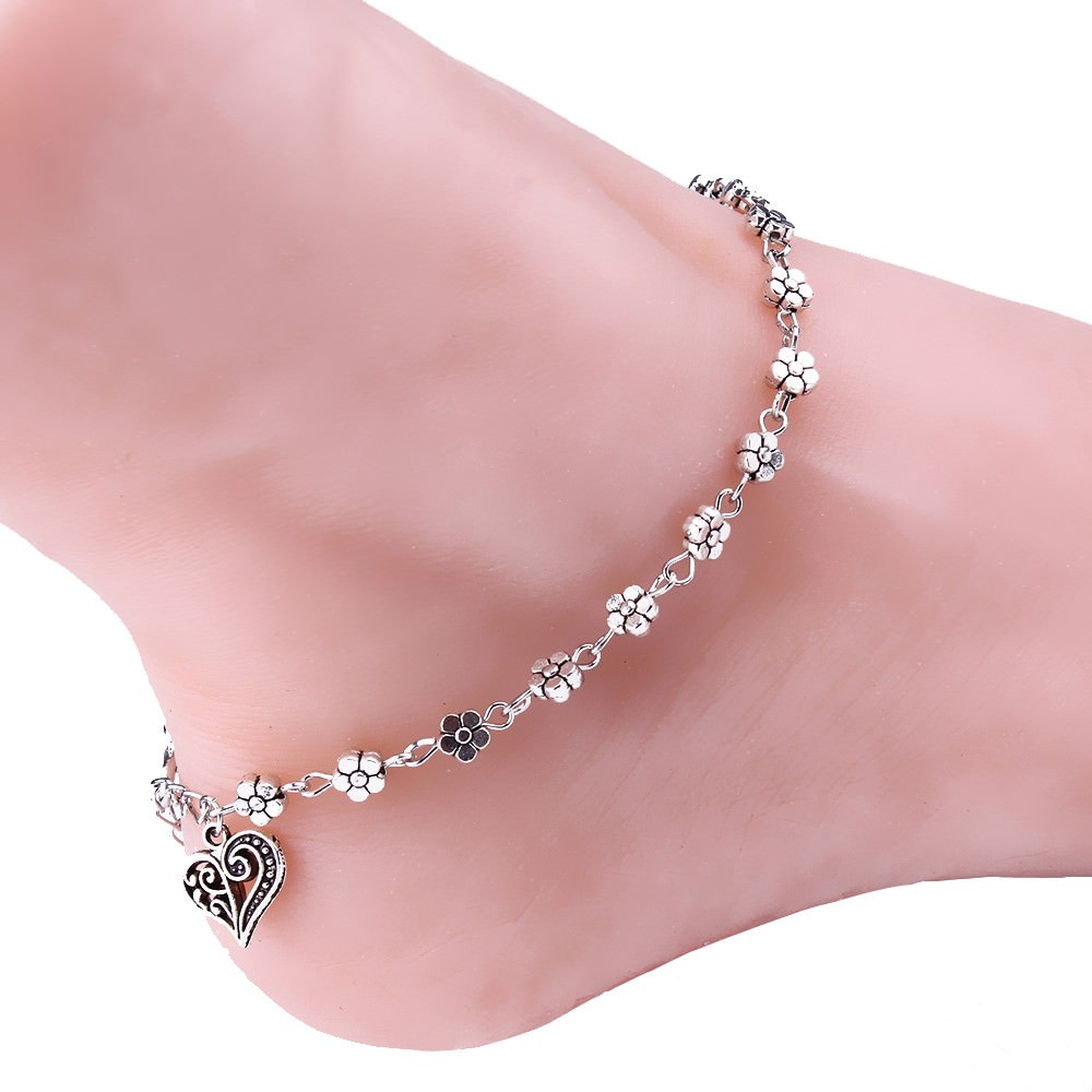 7088-d36cfe9fd4a423542024686740f3fd73 Silver Bead Chain Ankle Bracelet Barefoot