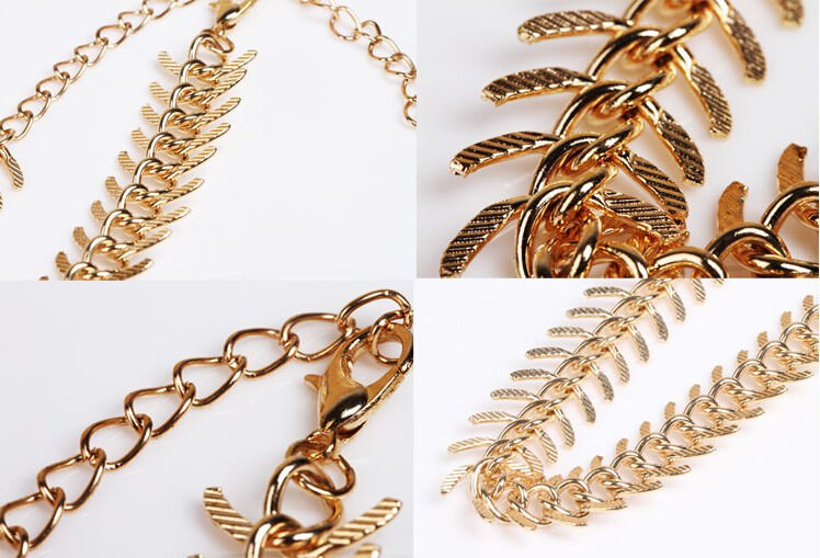 7089-beb921b9f9fe81f2b6332099a40e6170 New Fashion Gold Plated Fish Spine Anklet Jewelry