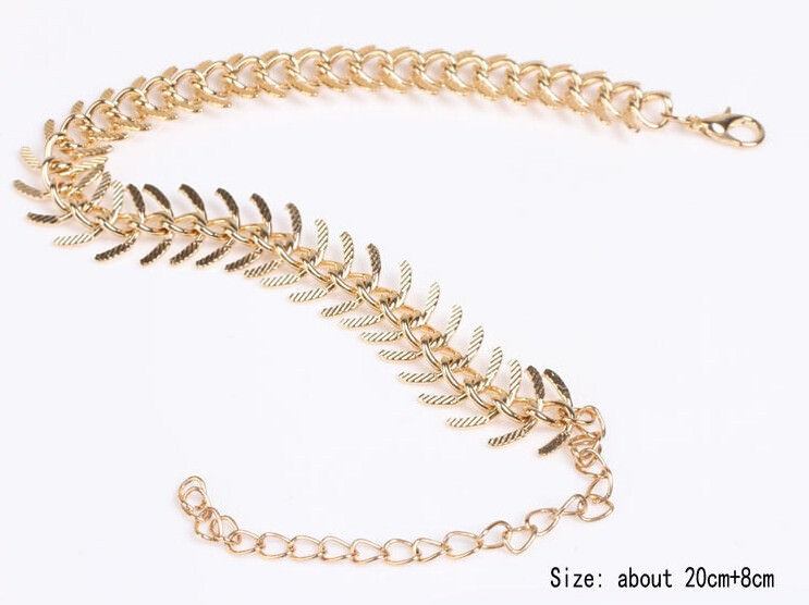 7089-ca8555ca26ddcb2a6393d4d349602e14 New Fashion Gold Plated Fish Spine Anklet Jewelry