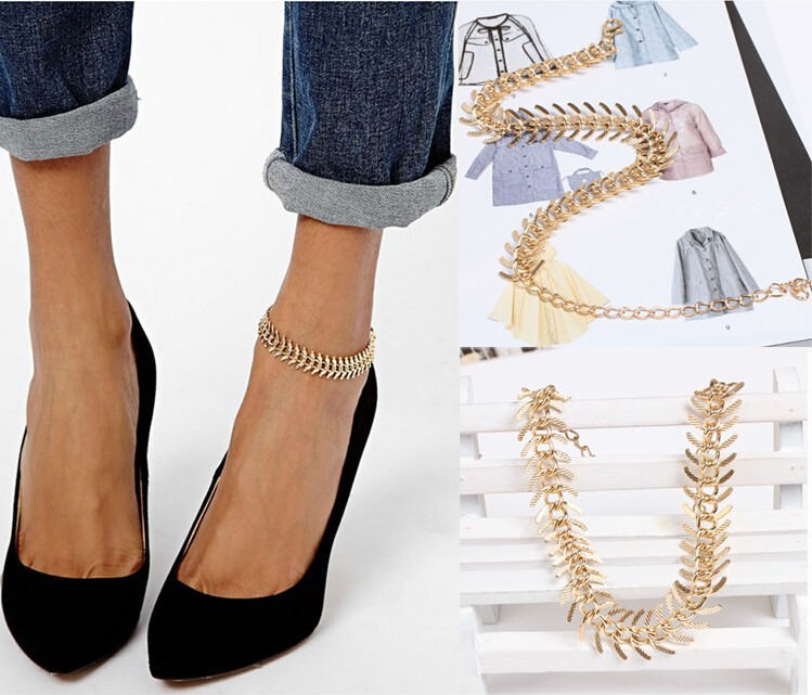 7089-d024dc7bbfb9e1a59914d3e72581f6aa New Fashion Gold Plated Fish Spine Anklet Jewelry