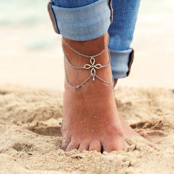 Vintage Multi-layer Chain Anklet Jewelry With Chinese Knot Pendant