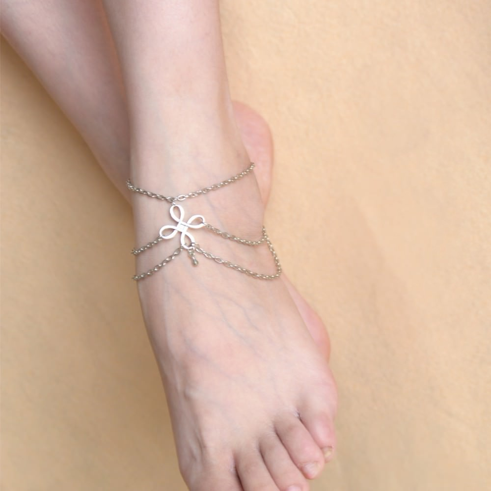 7091-c81c8799830cbff84759ba3a9d47e046 Vintage Multi-layer Chain Anklet Jewelry With Chinese Knot Pendant