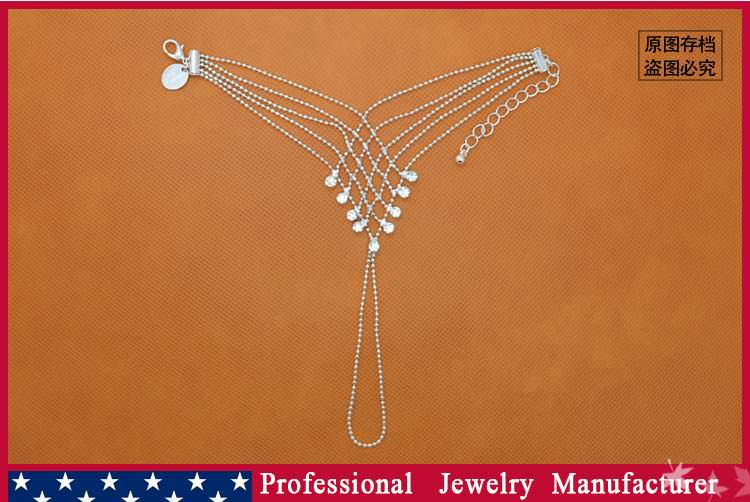 8838-9e1bde114606253ccea72f7957b99d60 Ball Chain Hand Slave Jewelry With Lattice Design And Rhinestone Accent