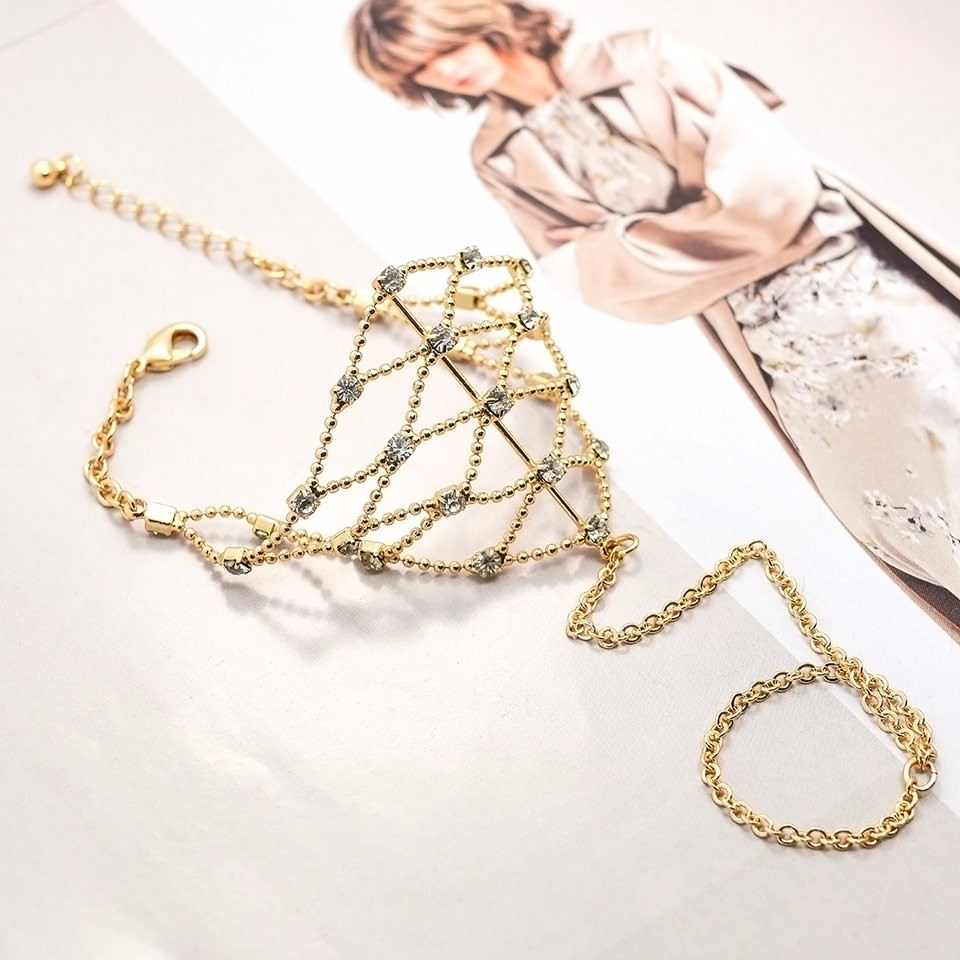 8838-b7a9045c556a24d41229e234efb91c6c Ball Chain Hand Slave Jewelry With Lattice Design And Rhinestone Accent