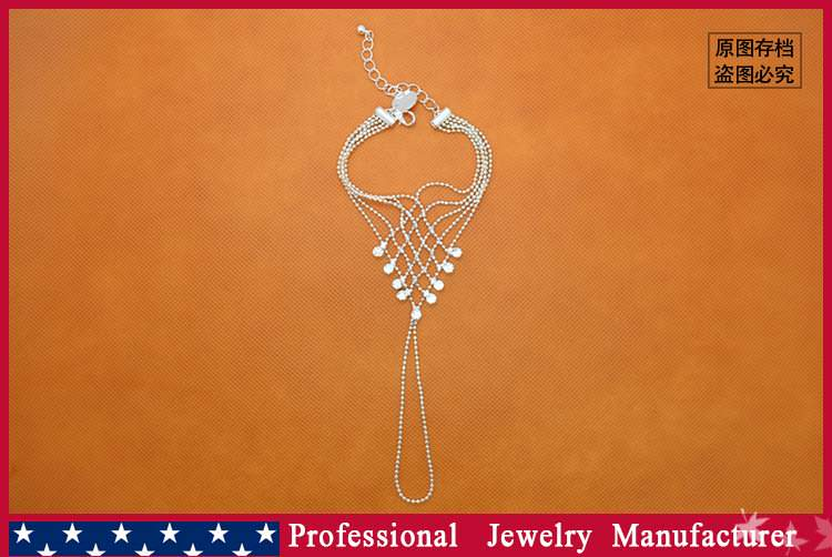 8838-c41d6b2a753c6b07d53fa842c3c2a7a2 Ball Chain Hand Slave Jewelry With Lattice Design And Rhinestone Accent