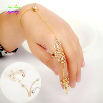 Excuisite Floral Chain Hand Slave Jewelry With Nail Armor