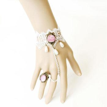 Vintage White Lace Bracelet Slave Chain Jewelry For Women