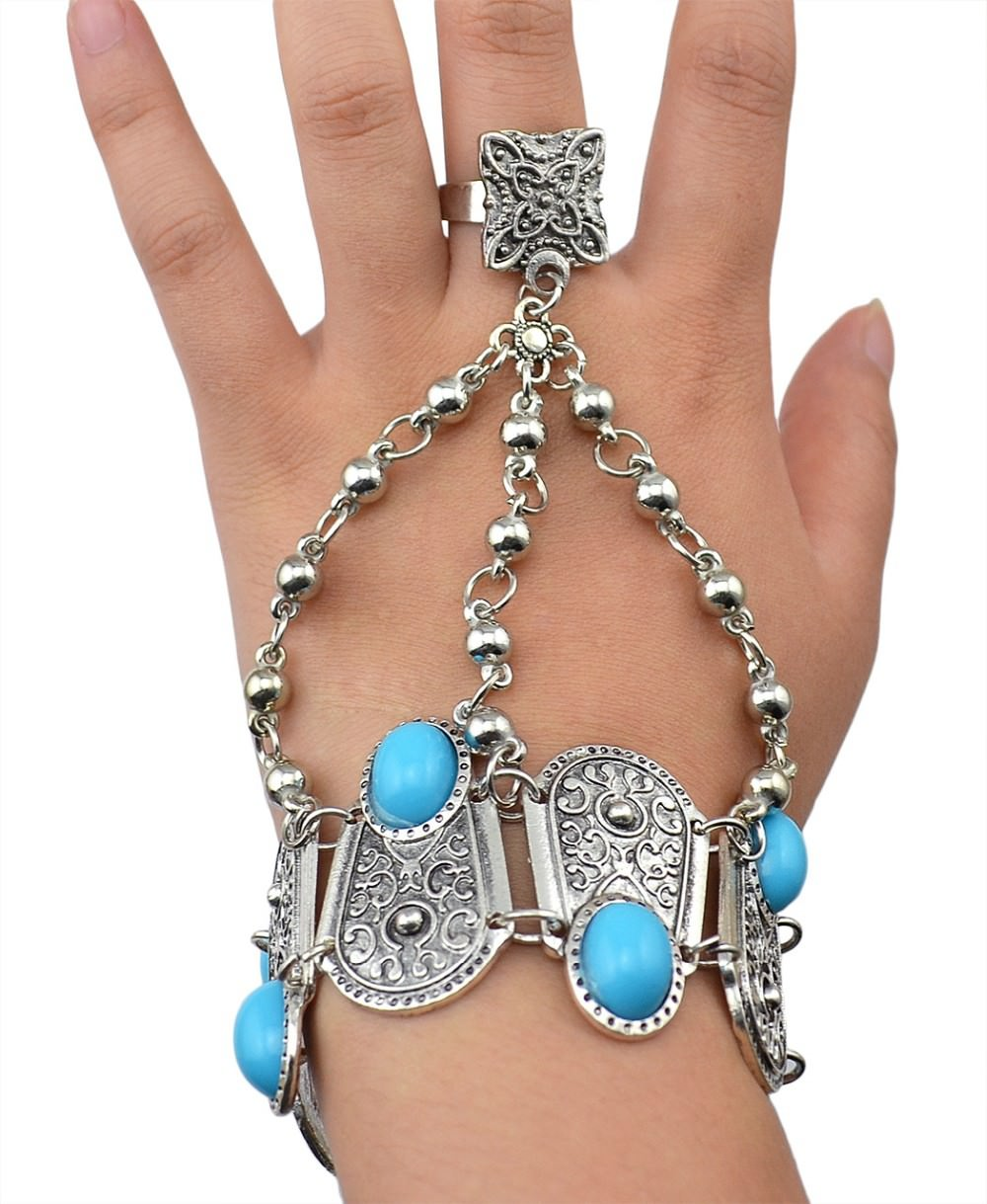 8846-5feaafd8f5cfbf97c7ef8547272b6376 Bohemian Blue Gemmed Chuny Bracelet Jewelry With Floral Slave Chain