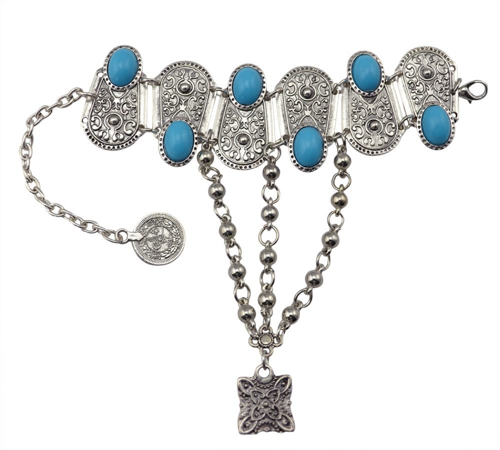 8846-73225a71c6778978ea5fcd1574ebb6b1 Bohemian Blue Gemmed Chuny Bracelet Jewelry With Floral Slave Chain