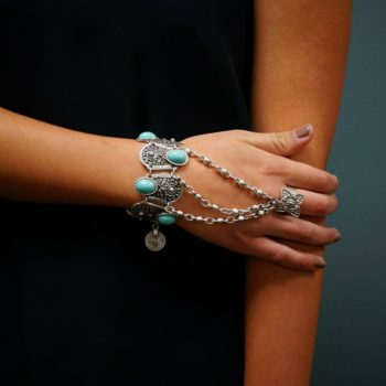 Bohemian Blue Gemmed Chuny Bracelet Jewelry With Floral Slave Chain