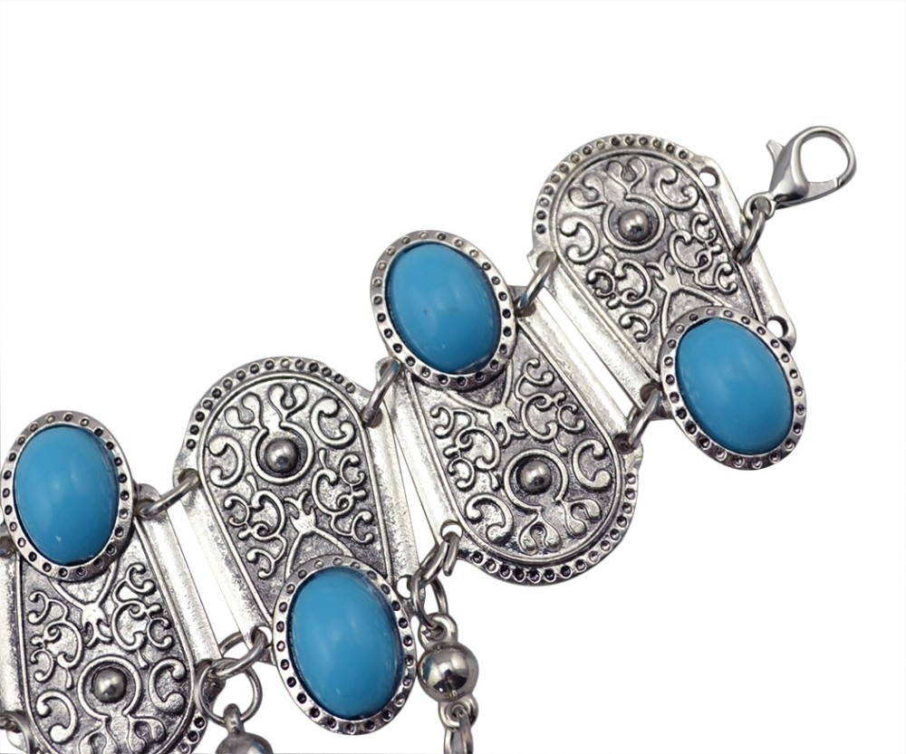 8846-bf361e8d700576f8fa36aaeb9c9bf865 Bohemian Blue Gemmed Chuny Bracelet Jewelry With Floral Slave Chain