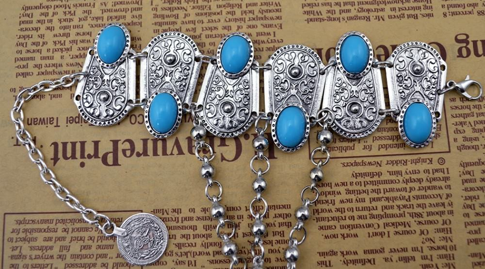 8846-ee62a76a9274569274b7221f87add66f Bohemian Blue Gemmed Chuny Bracelet Jewelry With Floral Slave Chain