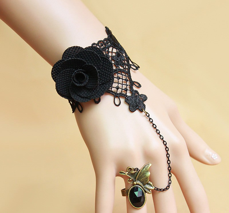 8848-106b2caa1e9f11fa6614a83e5f917a0b Vintage Gothic Lace Slave Bracelet Jewelry With Crystal Ring