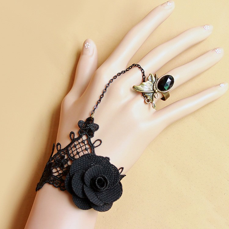 8848-875599c17c9ed130b9bccf4b9c59379f Vintage Gothic Lace Slave Bracelet Jewelry With Crystal Ring