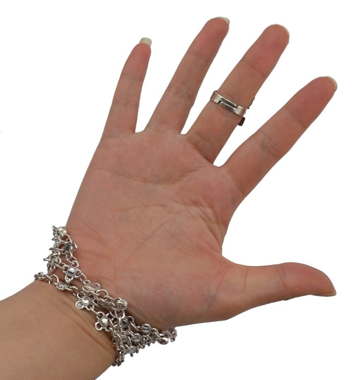 8849-fd90d9c58847e346eeaa0aba58e92250 Edgy Bohemian Clover Flower Chain Hand Harness Jewelry