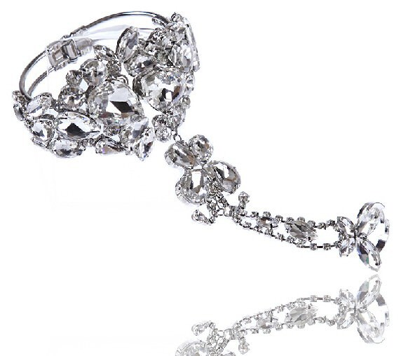 8850-c4f2267310fcb220b9a5990972c2f656 Wedding Butterfly Slave Chain Jewelry With Chunky Crystal Bangle