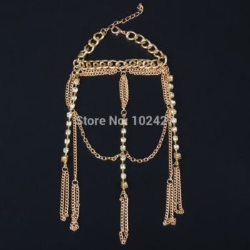 Luxurious Finger Slave Hand Chain Harness Jewelry With Rhinestones
