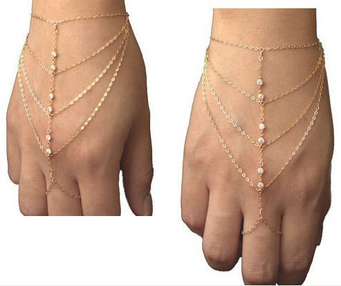 8853-35604b8096360b0508319ca9d535fa72 New Bohemian Multi Chain Hand Bracelet With Rhinestones