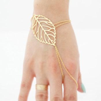 Autumn Leaf Hand Slave Chain Bracelet Jewelry For Women