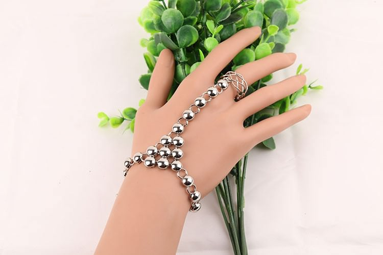 8856-1eabdf5f0777e93454897c9cfbc2bccf Silver Plated Ball Chain Hand Slave With Crisscross Ring