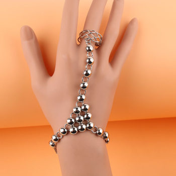 Silver Plated Ball Chain Hand Slave With Crisscross Ring