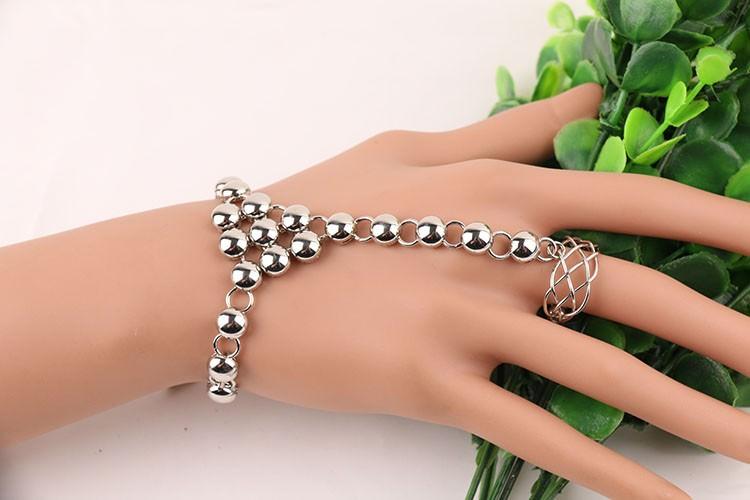 8856-94c034f5e1fa342cc3742e6fb423aed8 Silver Plated Ball Chain Hand Slave With Crisscross Ring