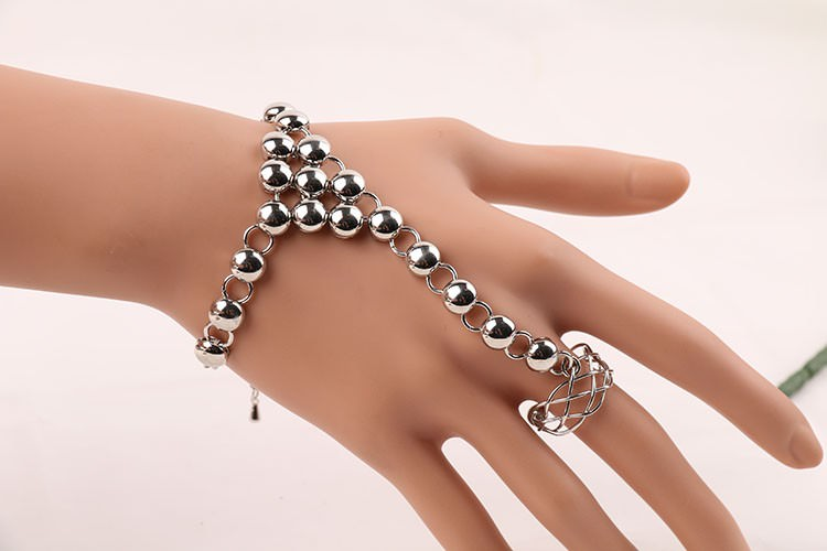 8856-bb9f502055e23f82ec0272cd24ac524b Silver Plated Ball Chain Hand Slave With Crisscross Ring