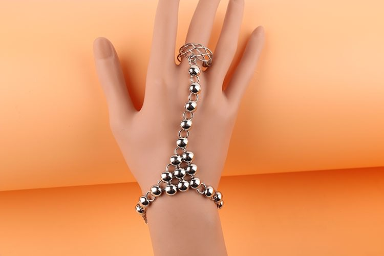 8856-e3517648f855c675b39d983fc340e60d Silver Plated Ball Chain Hand Slave With Crisscross Ring
